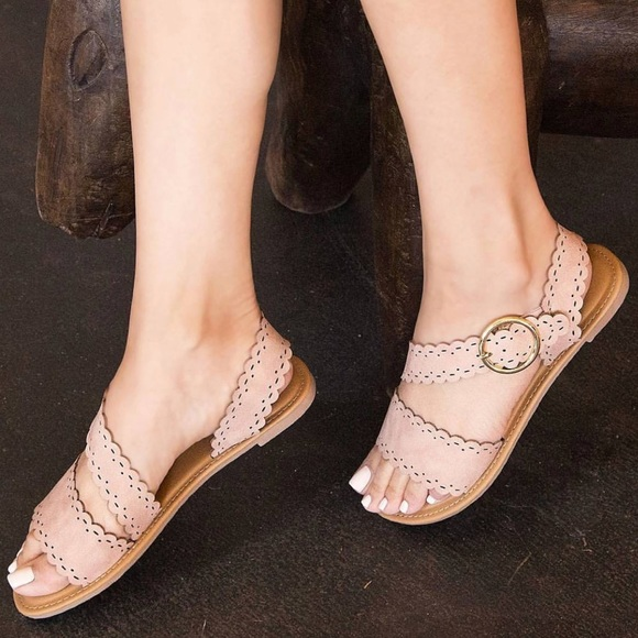 877564df0 The Luxe Bohemian Shoes | Arrived Blush Scalloped Strappy Flat ...
